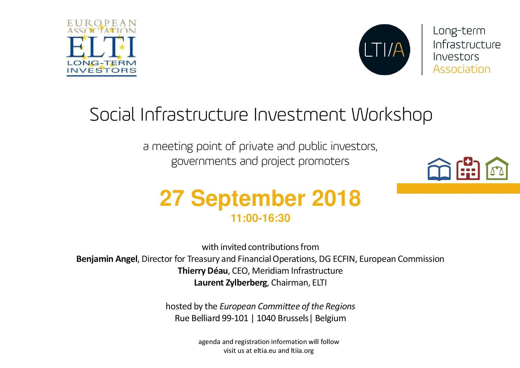 Social Infrastructure Event 27 Sep 2018